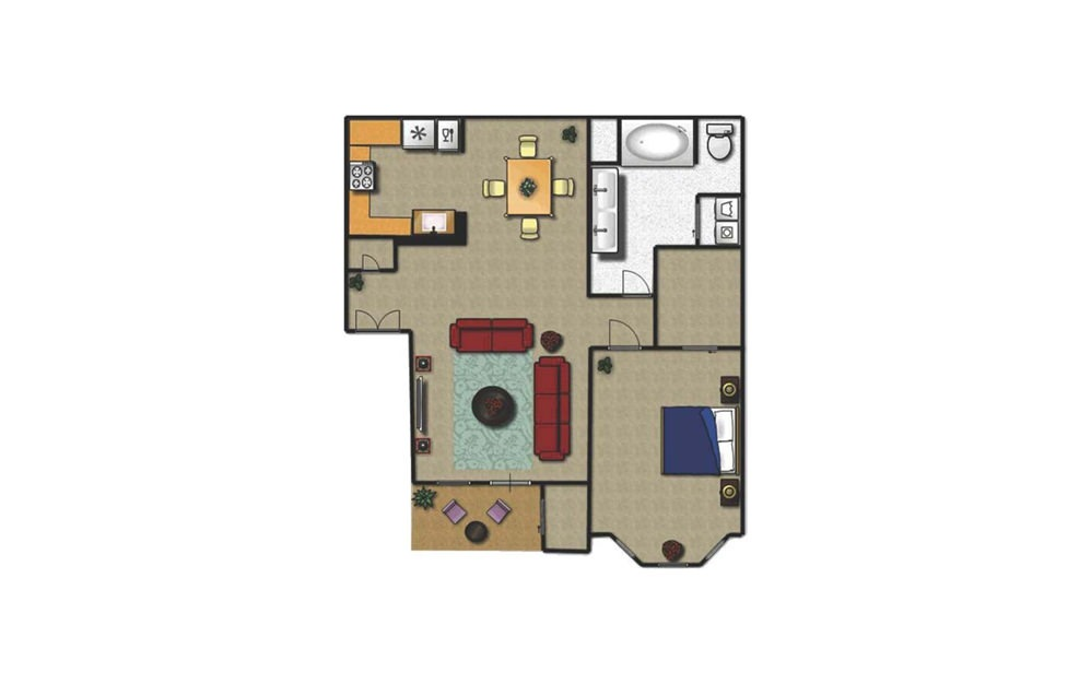 A - 1 bedroom floorplan layout with 1 bath and 800 square feet.