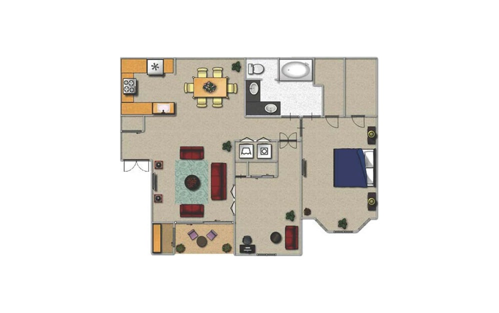 B - 1 bedroom floorplan layout with 1 bath and 1000 square feet.