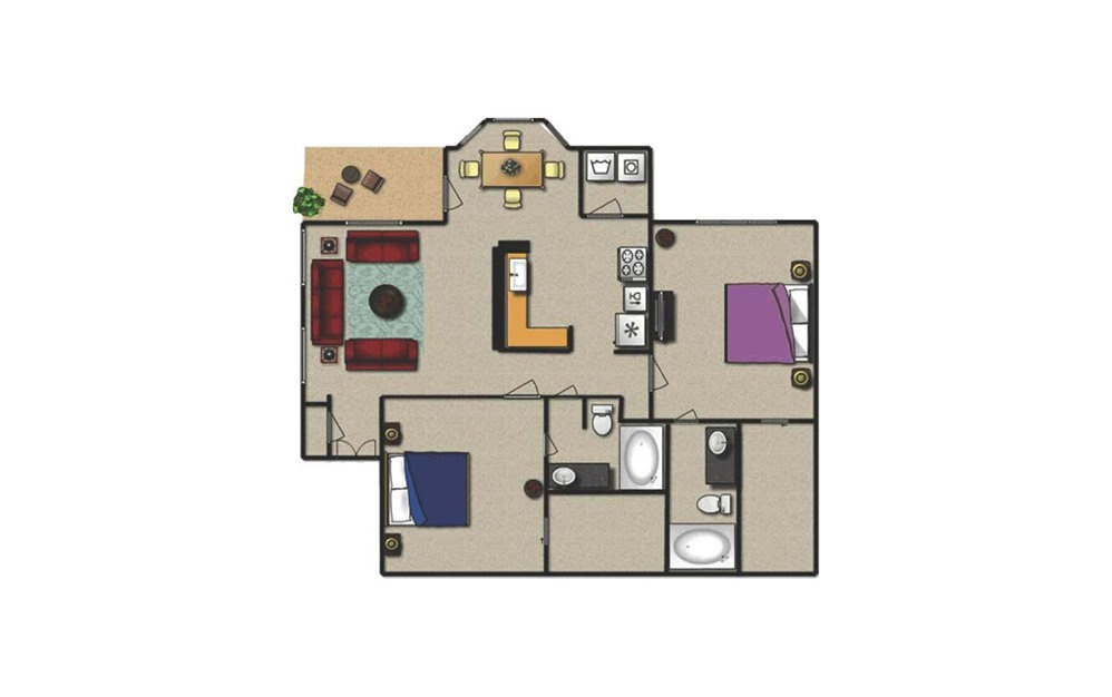 C - 2 bedroom floorplan layout with 2 baths and 1120 square feet.