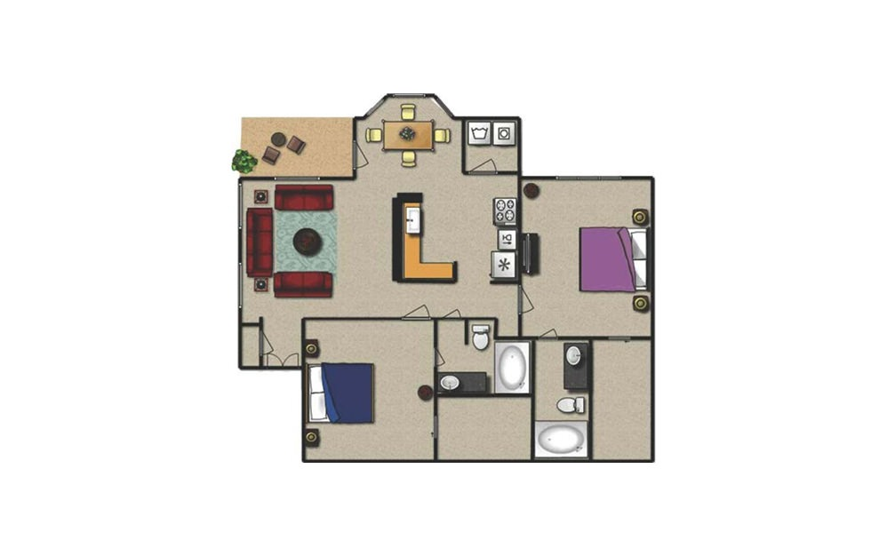 C1 - 2 bedroom floorplan layout with 2 baths and 1162 square feet.