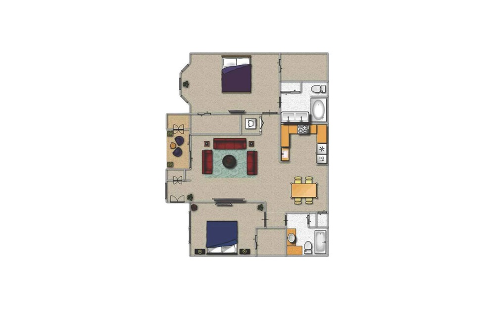 D - 2 bedroom floorplan layout with 2 baths and 1250 square feet.