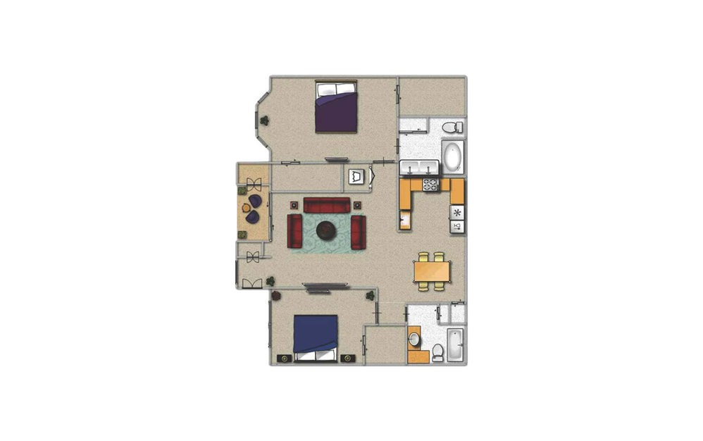 D1 - 2 bedroom floorplan layout with 2 baths and 1272 square feet.